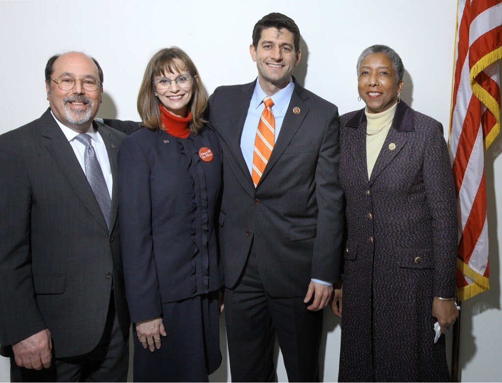 Pres. Brown with Chair Jean Torgeson, Rep. Paul Ryan and AACC Chair Marie Foster Gnage